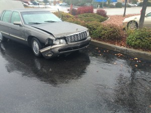 Damage to the front bumper of the Cadillac involved in the accident on Green Springs Drive, St. George, Utah