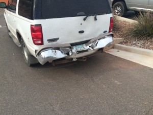 Damage to a Ford Explorer involved in an accident on Bluff Street, St. George, Utah, Dec. 31, 2014 | Photo by Brett Brostrom, St. George News