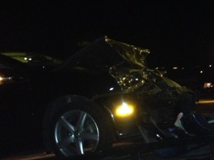 A Volkswagen Jetta sustains front end damage after it rear-ended a Honda Civic on River Road, St. George, Utah, Dec. 22, 2014 | Photo by Holly Coombs, St. George News