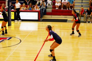 Hannah Harrah prepares for the ball during a match at Dixie State University, St. George, undated | Photo courtesy of Erin Zeltner, St. George News