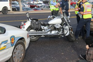 A man riding a motorcycle collided with an Acura driven by an adult woman Monday afternoon, St. George News, Dec. 1, 2014   Photo by Holly Coombs, St. George News
