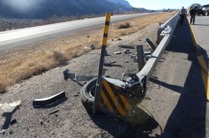 Damage to the crash attenuator that was struck by a the truck involved in the crash at mile marker 33 on Interstate 15, Dec. 9, 2014 | Photo by Devan Chavez, St. George News