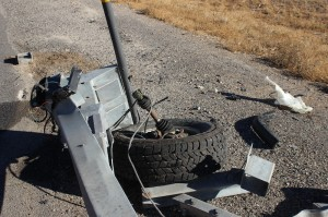 The front left tire of the truck involved in the crash at mile marker 33 on Interstate 15, Dec. 9, 2014   Photo by Devan Chavez, St. George News