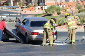 Emergency responders work to clear the scene of an accident at the intersection of 1400 West and Snow Canyon Parkway, St. George, Utah | Photo by Devan Chavez, St. George News