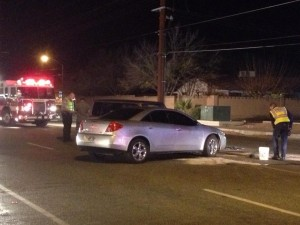 Accident near Dixie Downs Road and Sunset Boulevard, St. George, Utah, Dec. 16, 2014 | Photo by Hollie Reina, St. George News