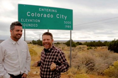 """L-R: """"No Filter Show"""" Co-Hosts Paul Ford, Grady Sinclair on Utah Highway 59 approaching the border town of Colorado City, Arizona, circa November 2014 