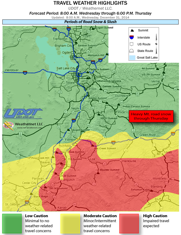 UDOT travel weather highlights map for period from 8 a.m. Dec. 31 to 6 p.m. Jan. 1, 2015 | Image courtesy of UDOT, St. George News
