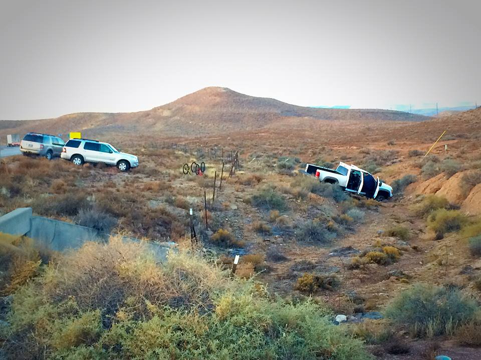 Truck ditched in the median by four occupants who fled police on foot near Utah's southern Port of Entry of Interstate 15 southbound, St. George, Utah, Dec. 9, 2014 | Photo by Kimberly Scott, St. George News