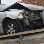 A Hyundai Accent sustains front-end damage as the result of a collision, Hurricane, Utah, Dec. 24, 2014   Photo by Brett Brostrom, St. George News