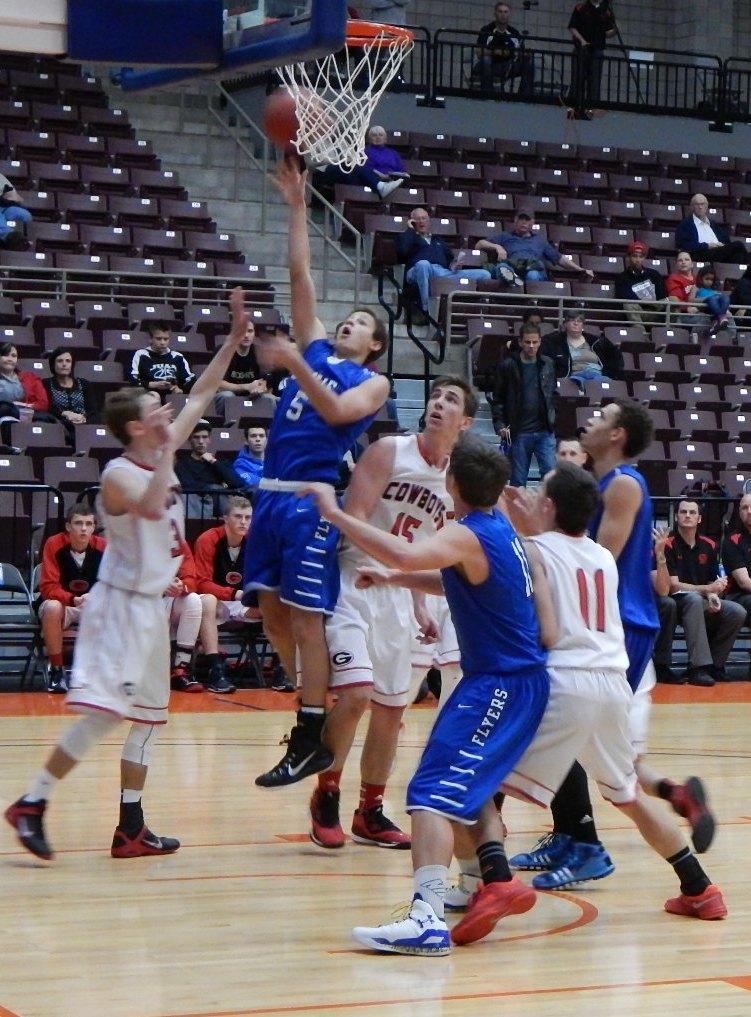 Tyler Bennett scores, Dixie vs, Grantsville, 3A Preview, Richfield, Utah, Dec. 6, 2014 | Photo by Andy Griffin, St. George News