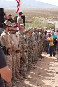 Civilian militia standing guard in front of the stage at the rally supporting the Bundys, Clark County, Nev., April 12, 2014 | Photo courtesy of a photographer who requested his name be withheld, St. George News