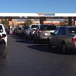 Cars line up to take advantage of low gas prices at Costco, St. George, Dec. 23, 2014   Photo by John Teas, St. George News