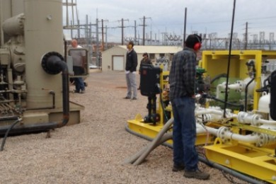 St. George startup, Helidyne, gives a demonstration of their planetary rotor expander units at their new test stand located at the Red Rock Power Generating facility, St. George, Utah, Dec. 11, 2014 | Photo by Hollie Reina, St. George News