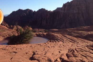 "A waterhole famously featured in ""Butch Cassidy and the Sundance Kid"" is full after a rainstorm, Petrified Dunes Trail, Snow Canyon State Park, Utah, Oct. 1, 2014 