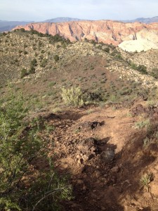 A view of the trail during a steep descent on the cinder cone hike, St. George, Utah, Circa Summer 2014 | Photo by Hollie Reina, St. George News