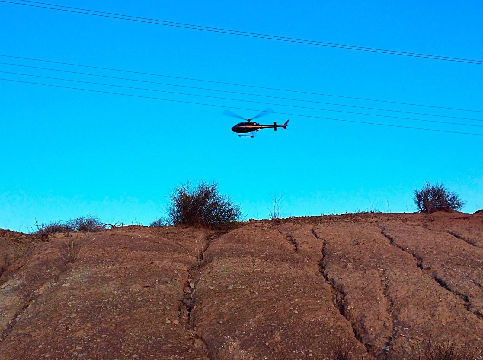 Utah Highway Patrol's Star 8 helicopter aids in the search for four occupants fleeing police on foot near Utah's southern Port of Entry of Interstate 15 southbound, St. George, Utah, Dec. 9, 2014 | Photo by Kimberly Scott, St. George News