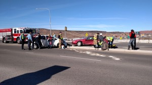 Two-car accident over the Dixie Drive Overpass at I-15 Exit 5, St. George, Utah, Dec. 27, 2014 | Photo by Mori Kessler, St. George News