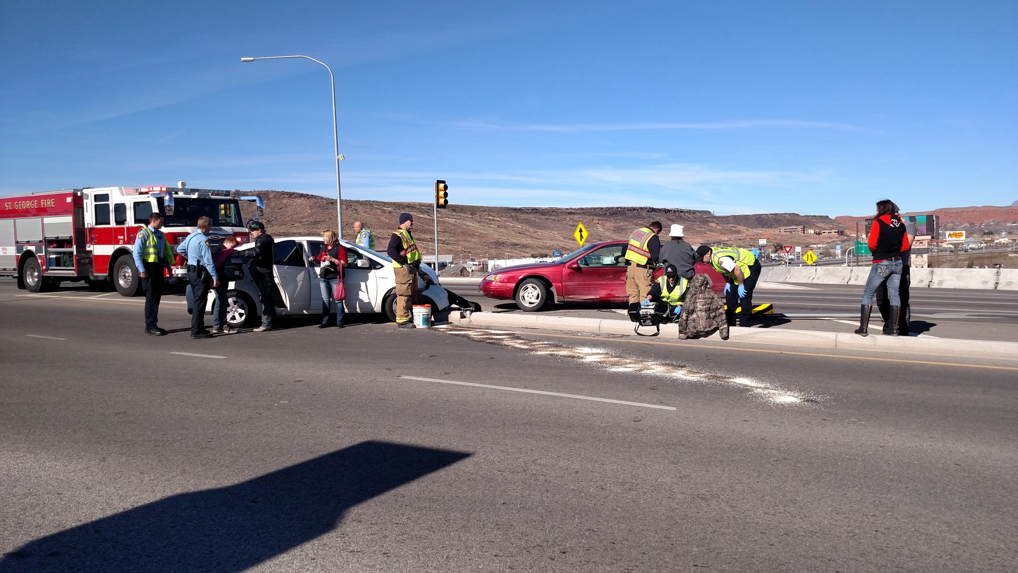 Two Cars Leaving I 15 Collide On Interchange 1 Taken To