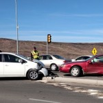 Two-car accident on the Dixie Drive overpass at I-15 Exit 5, St. George, Utah, Dec. 27, 2014 | Photo by Mori Kessler, St. George News