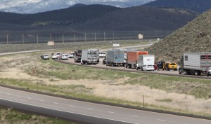 Standoff incident at mile post 95 on Interstate 15, just past the Hwy 20 junction. NB traffic backs up from the incident. MP 95 is between Parowan and Beaver, Utah, April 27, 2014 | Photo by Corey McNeil, St. George News