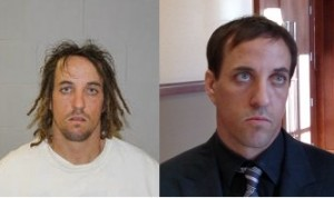 Left to right: Walker at the time of his arrest on Jan. 30, 2013. Walker at the Fifth District Courthouse in St. George, Utah,  Dec. 23, 2014 | Booking photo courtesy of the Utah Highway Patrol, second photo by Mori Kessler, St. George News