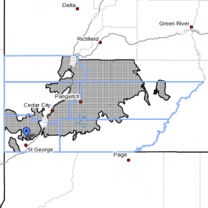 Winter weather advisory. Dots denote affected areas in Utah as of Dec. 12, 2014, 3:55 p.m. | Image courtesy of National Weather Service, St. George News | Click on image to enlarge