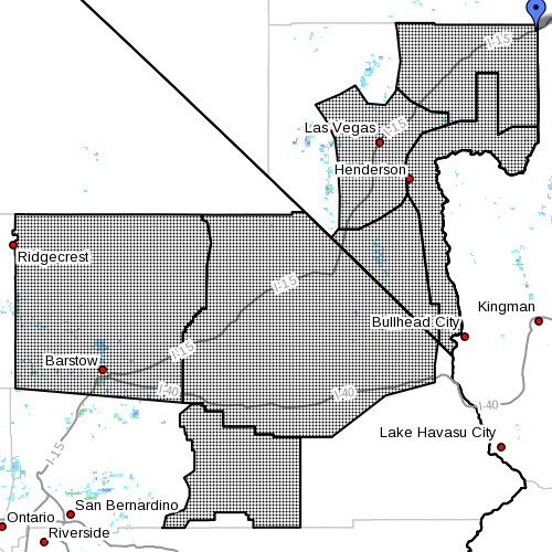 Dots denote affected area at radar time 7:02 p.m., Mesquite, Nevada, Dec. 28, 2014 | Image courtesy of the National Weather Service | Click on photo to enlarge