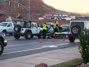 Emergency responders working the scene of an accident at the intersection of River Road and Ft. Pierce Drive, St. George, Utah, Jan. 14, 2014 | Photo courtesy of Michael Schoppe, St. George News