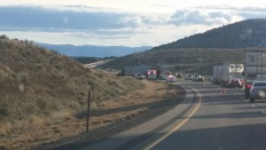 Traffic in the southbound lanes of I-15 from milepost 124 was redirected to the emergency lane for a few hours following a collision between a UPS semi truck and a dump truck, near Beaver, Utah, Jan. 28, 2015 | Photo courtesy of Jim and Kelly McCune, St. George News