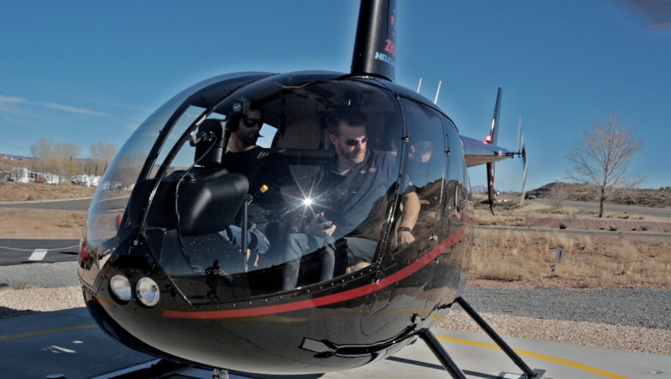 """Zion Helicopters takes the  """"No Filter Show"""" Co-hosts Paul Ford and Grady Sinclair up and about Mollies Nipple, Hurricane, Utah, January 2015 
