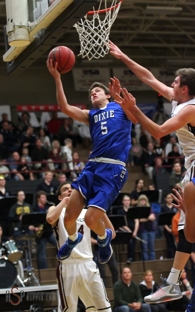 Tyler Bennett (5) glides to the hoop for the Flyers, Dixie vs. Pine View, Boys Basketball, St. George, Utah, Jan. 7, 2015 | Photo by Robert Hoppie, ASPpix.com, St. George News