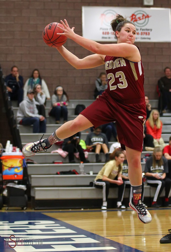 Courtney Morley (23) saves a ball for the Lady Reds, Cedar vs. Dixie, Girls Basketball,  St. George, Utah, Jan. 13, 2015 | Photo by Robert Hoppie, ASPpix.com, St. George News