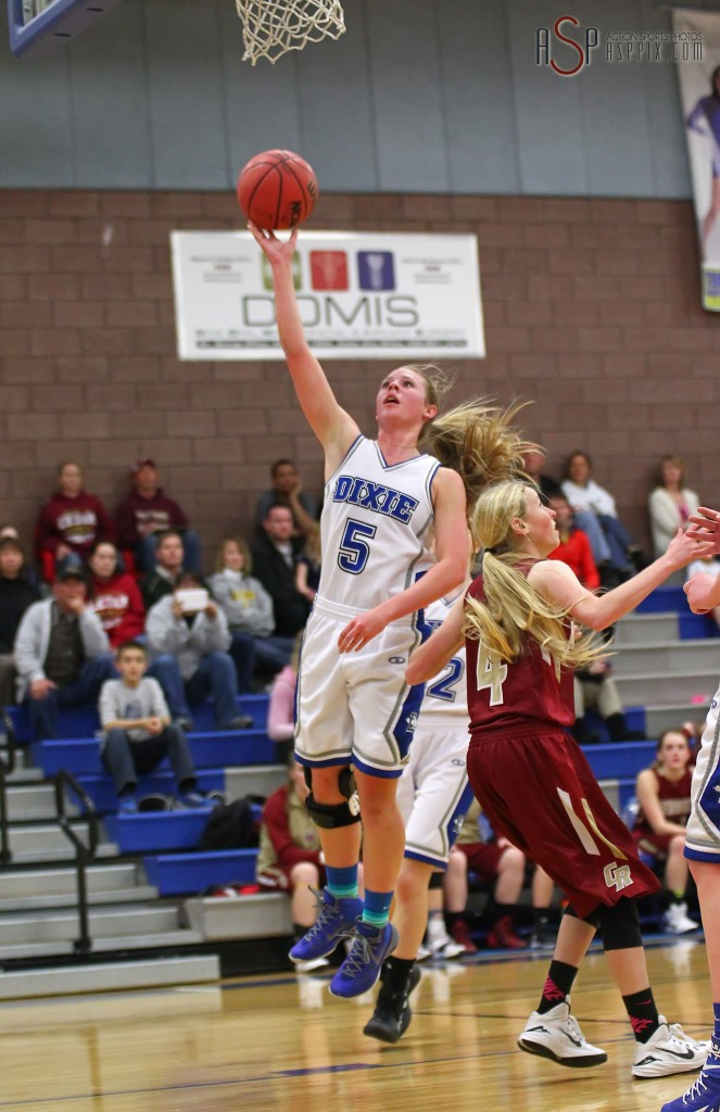 Aubri Challis (5) with a layup for Dixie, Cedar vs. Dixie, Girls Basketball,  St. George, Utah, Jan. 13, 2015 | Photo by Robert Hoppie, ASPpix.com, St. George News
