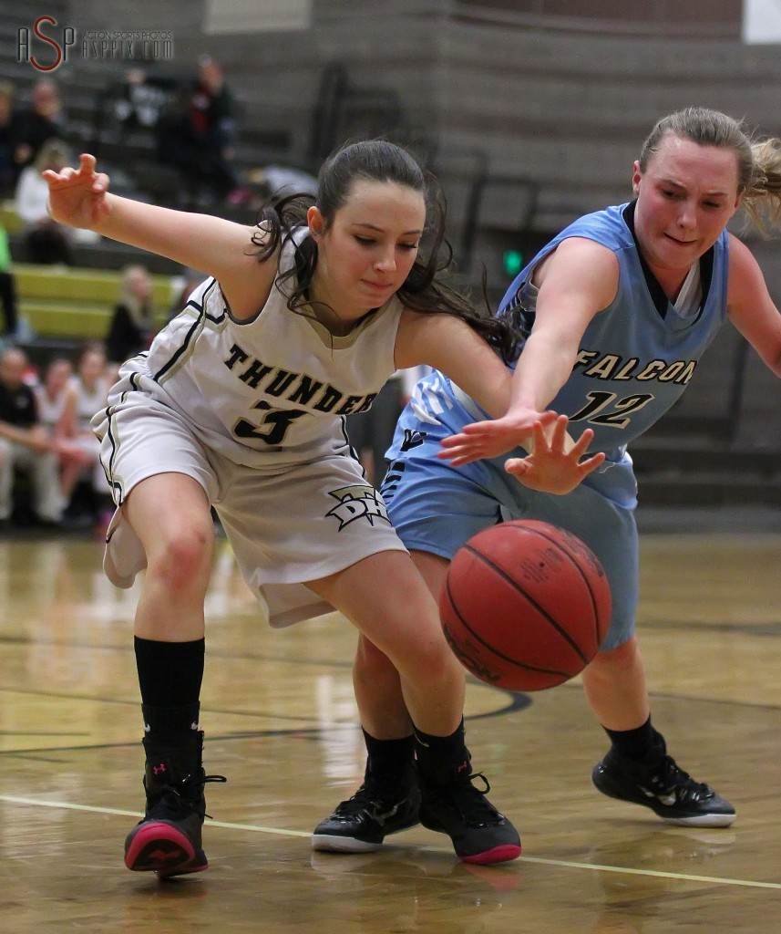 Thunder G Rylee Jensen (3) and Falcon G Shontae Clark (12) reach for a loose ball, Canyon View vs. Desert Hills, Girls Basketball,  St. George, Utah, Jan. 15, 2015 | Photo by Robert Hoppie, ASPpix.com, St. George News