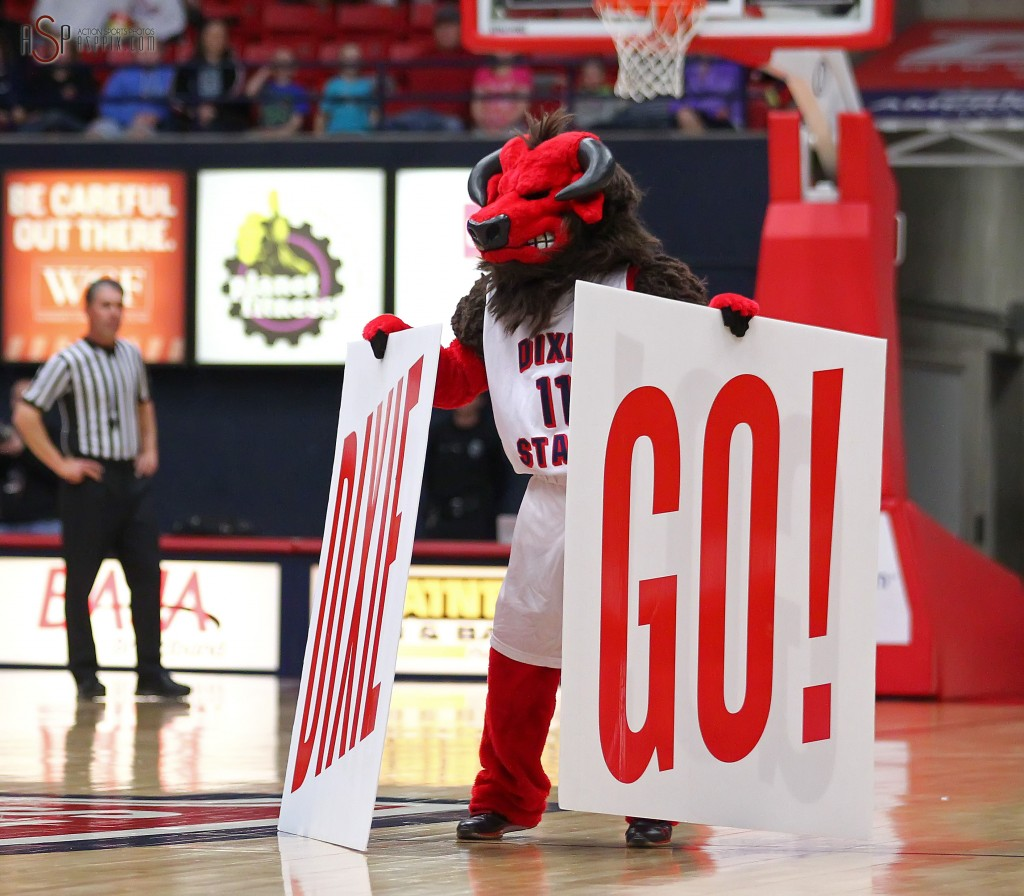 "The Red Storm mascot ""Big D"" fires up the crowd during a time out, Dixie State University vs. Azusa Pacific University, Mens Basketball,  St. George, Utah, Jan. 17, 2015 