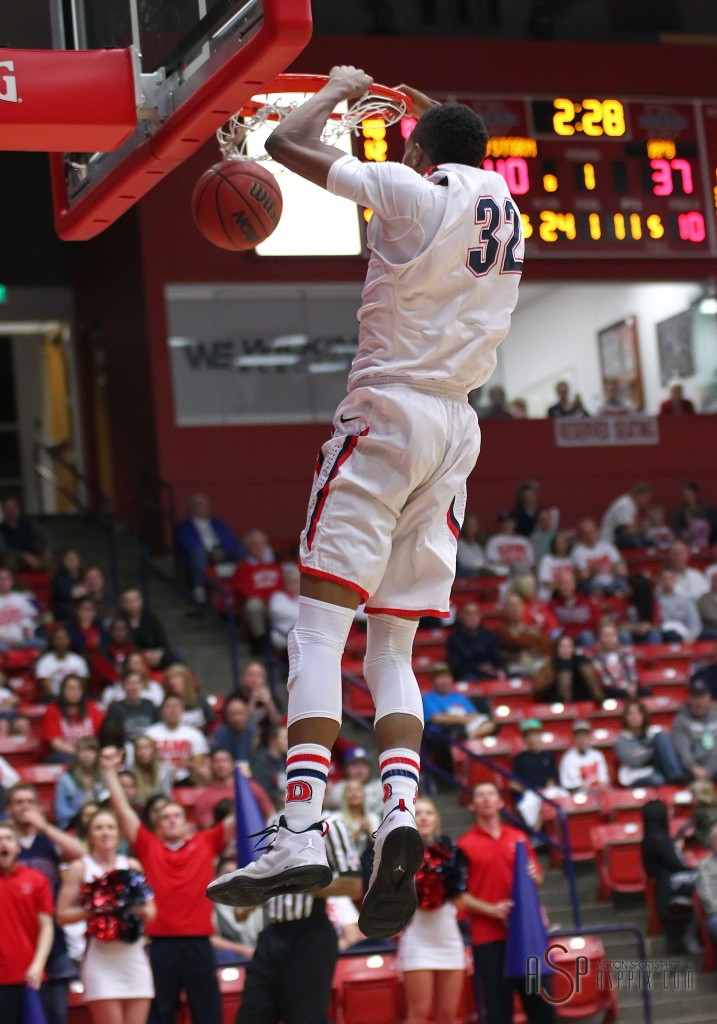 Mark Ogden with a dunk during the first half for the Red Storm, Dixie State University vs. Azusa Pacific University, Mens Basketball,  St. George, Utah, Jan. 17, 2015   Photo by Robert Hoppie, ASPpix.com, St. George News