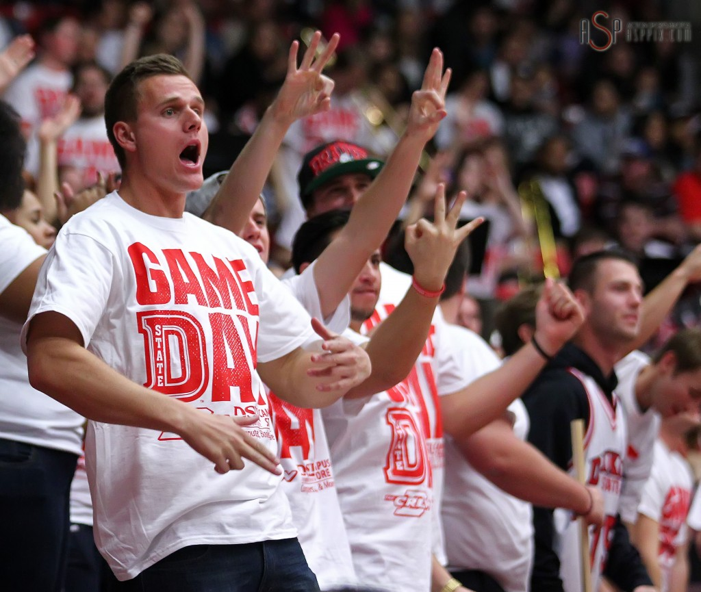 Dixie State fans celebrate a 3-point basket, Dixie State University vs. Azusa Pacific University, Mens Basketball,  St. George, Utah, Jan. 17, 2015 | Photo by Robert Hoppie, ASPpix.com, St. George News