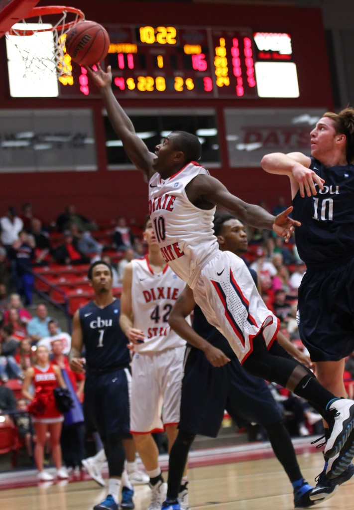 Collin Woods (10) with a leaner for a layup, Dixie State University vs. California Baptist University, Mens Basketball,  St. George, Utah, Jan. 19, 2015 | Photo by Robert Hoppie, ASPpix.com, St. George News