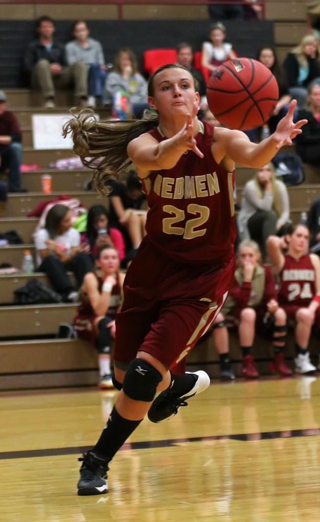 Javlyn Weaver (22) grabs a rebound for the Lady Redmen, Cedar vs. Pine View Girls Basketball,  St. George, Utah, Jan. 20, 2015 | Photo by Robert Hoppie, ASPpix.com, St. George News