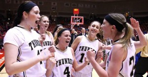 Haley Bodnar (far left) celebrates with her Desert Hills teammates after their 3A State Championship, Cedar City, Utah, Mar. 1, 2014 | Photo by Robert Hoppie, St. George News
