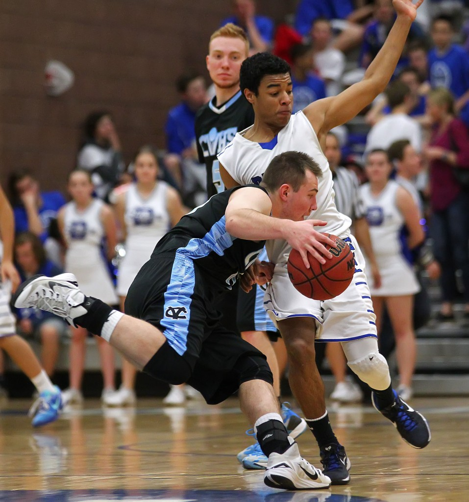 Falcon F Keaton Kringlen looks for some room to dribble against Malachi Otis, Canyon View vs. Dixie, Boys Basketball,  St. George, Utah, Jan. 21, 2015 | Photo by Robert Hoppie, ASPpix.com, St. George News