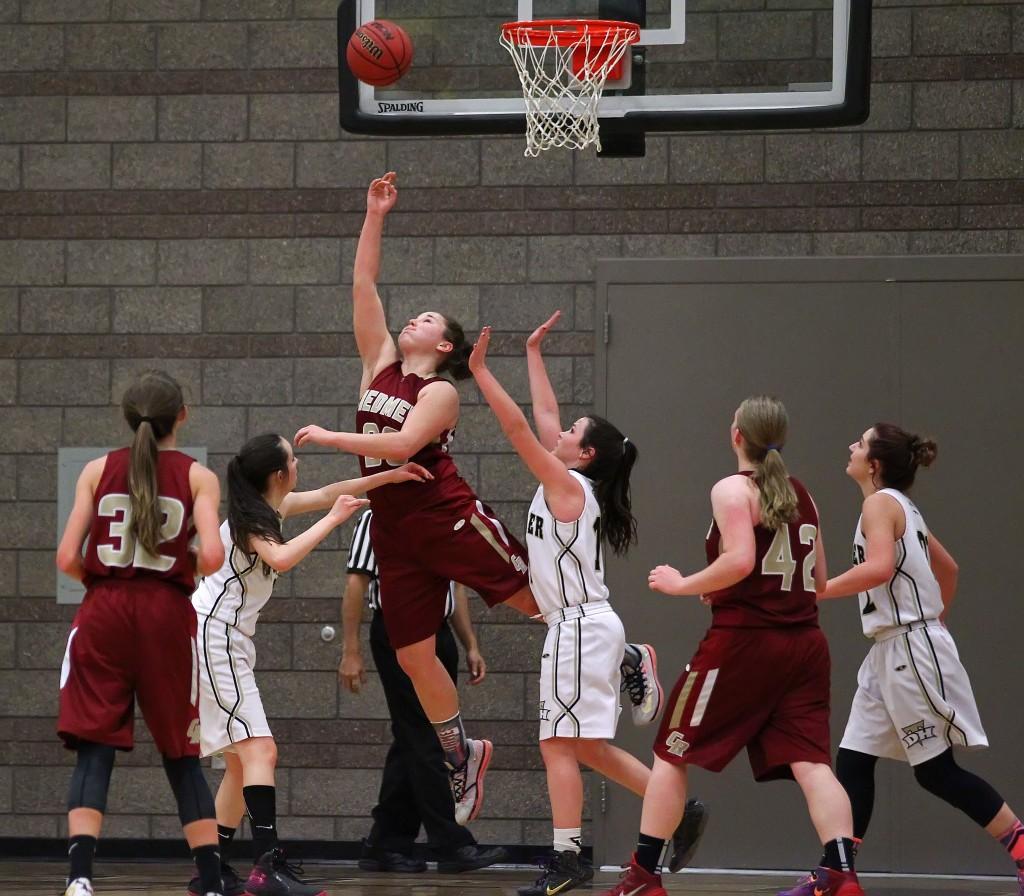 Courtney Morley puts up a reverse layup for the Lady Reds, Cedar vs. Desert Hills, Girls Basketball,  St. George, Utah, Jan. 22, 2015 | Photo by Robert Hoppie, ASPpix.com, St. George News