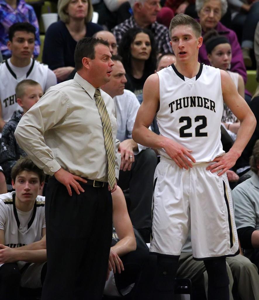 Quincy Mathews (23) and Head Coach Wade Turley, Dixie vs. Desert Hills, Boys Basketball, St. George, Utah, Jan. 28, 2015 | Photo by Robert Hoppie, ASPpix.com, St. George News