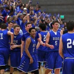 Dixie celebrates the win over Desert Hills, Dixie vs. Desert Hills, Boys Basketball, St. George, Utah, Jan. 28, 2015 | Photo by Robert Hoppie, ASPpix.com, St. George News