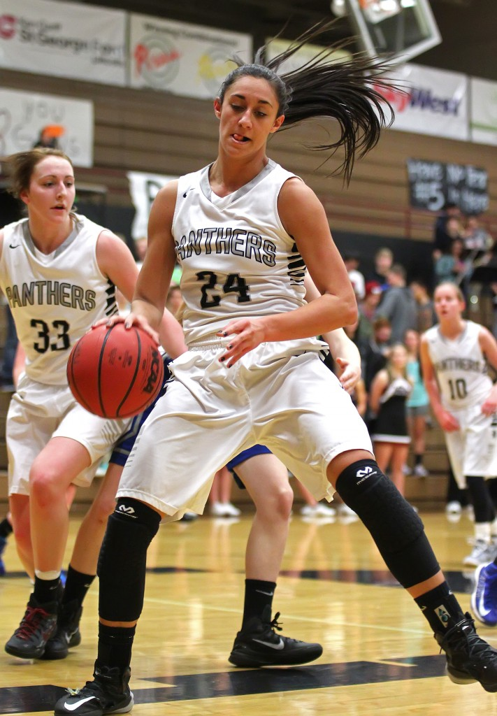 Tayvia Ah'Quin (24) grabs a rebound for the Lady Panthers, Dixie vs. Pine View, Girls Basketball, St. George, Utah, Jan. 29, 2015 | Photo by Robert Hoppie, ASPpix.com, St. George News