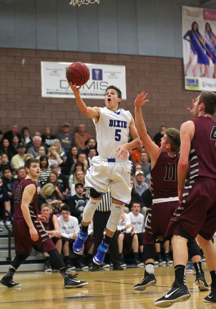 Tyler Bennett (5) floats to the hoop for the Flyers, Pine View vs. Dixie, Boys Basketball, St. George, Utah, Jan. 30, 2015 | Photo by Robert Hoppie, ASPpix.com, St. George News