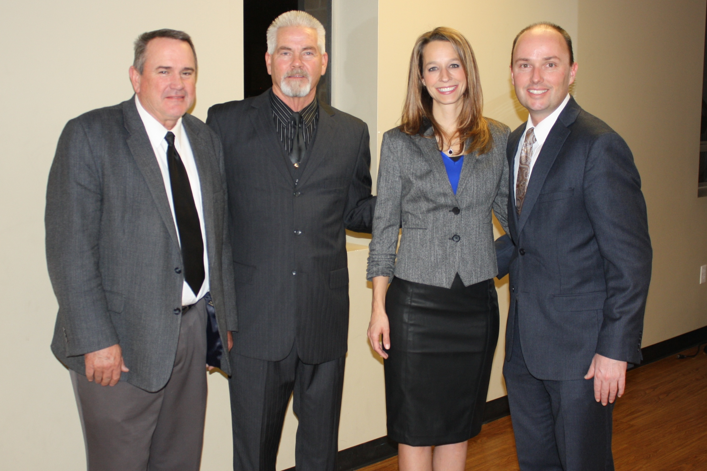 Lt. Gov. Spencer Cox and his wife, Abby (R), pose with Hurricane Mayor John Bramall and 2014 Hurricane Valley Chamber President Greg Aldred (L-R on the left) before the Chamber's awards ceremony, Hurricane, Utah, Jan. 15, 2015| Photo by Reuben Wadsworth, St. George News