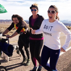 From L-R: Joshua Bryant,  Alice Heidenreich and Amanda Runge, as the women join Joshua Bryant for a leg of his birthday run from Arizona to Idaho. Photo taken near Minersville, Utah, Jan. 23, 2015 | Photo courtesy of Amanda Runge, St. George News