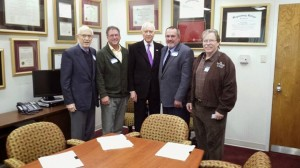 L-R, Utah Public Lands Alliance members Menlo Smith and Stacey Eaton, Sen. Hatch, Hurricane Mayor John Bramall and UPLA President Gil Meacham at a meeting at the office of Sen. Hatch, Salt Lake City, Utah, Dec. 22, 2014 | Photo courtesy of UPLA, St. George News