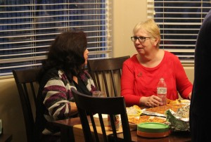 State Democratic Party Vice Chair, Josie Valdez (left), talks politics with former democratic candidate for the Utah House of Representatives, Dorothy Engelman (right), at the Talk and Tapas event, Hurricane, Utah, Jan. 11, 2014 | Photo by Devan Chavez, St. George News